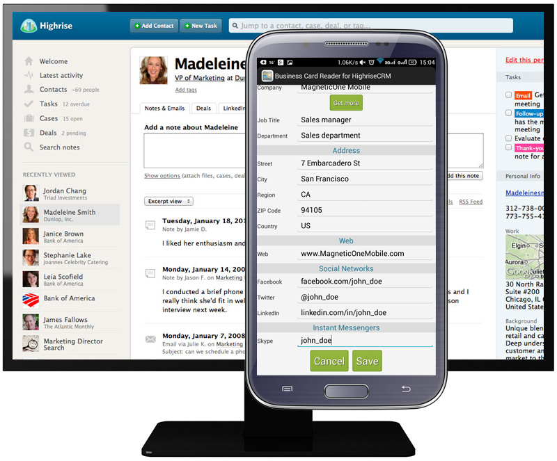 Business Card Reader for Highrise CRM - MagneticOne Mobile