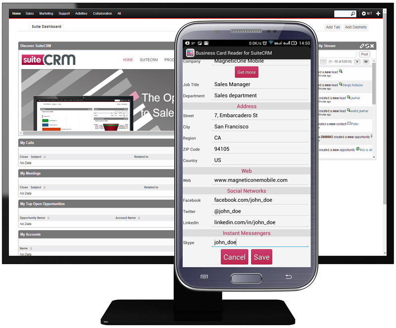 Business Card Reader for Suite CRM - MagneticOne Mobile
