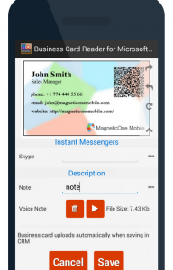 How to store business cards into ms dynamics crm android users 5 add a note or a voice note reheart Images