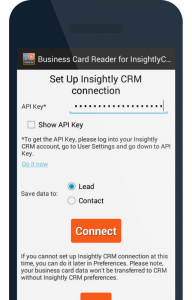 How to use your phone to scan business cards into insightly crm 2 set up the integration with your insightly crm to integrate business card reader reheart Gallery