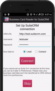 How to turn paper cards into suitecrm leads and contacts using your 2 set up the integration with your suitecrm reheart Choice Image